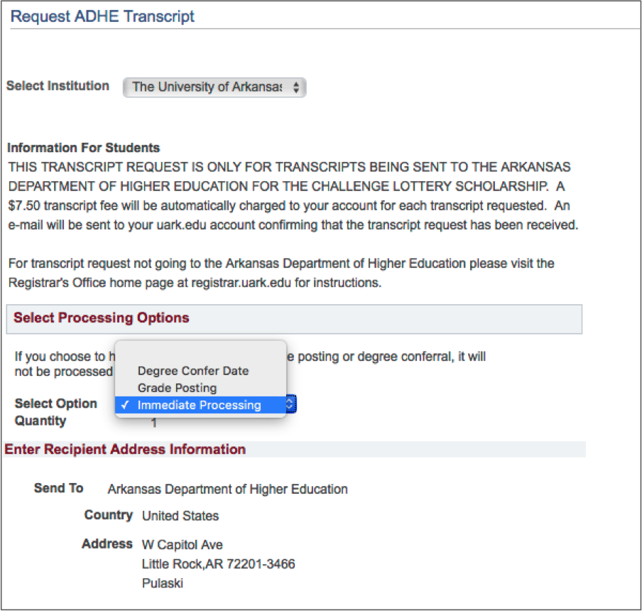 ADHE transcript request page