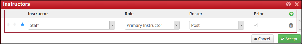 required fields listing for instructor