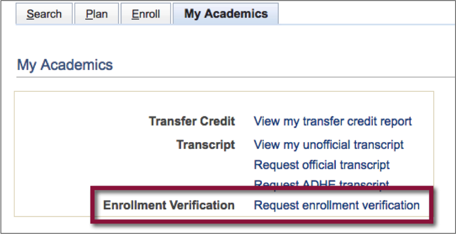 Enrollment Verification link