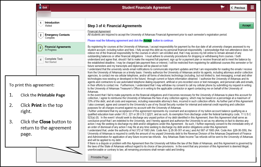 financial agreement print