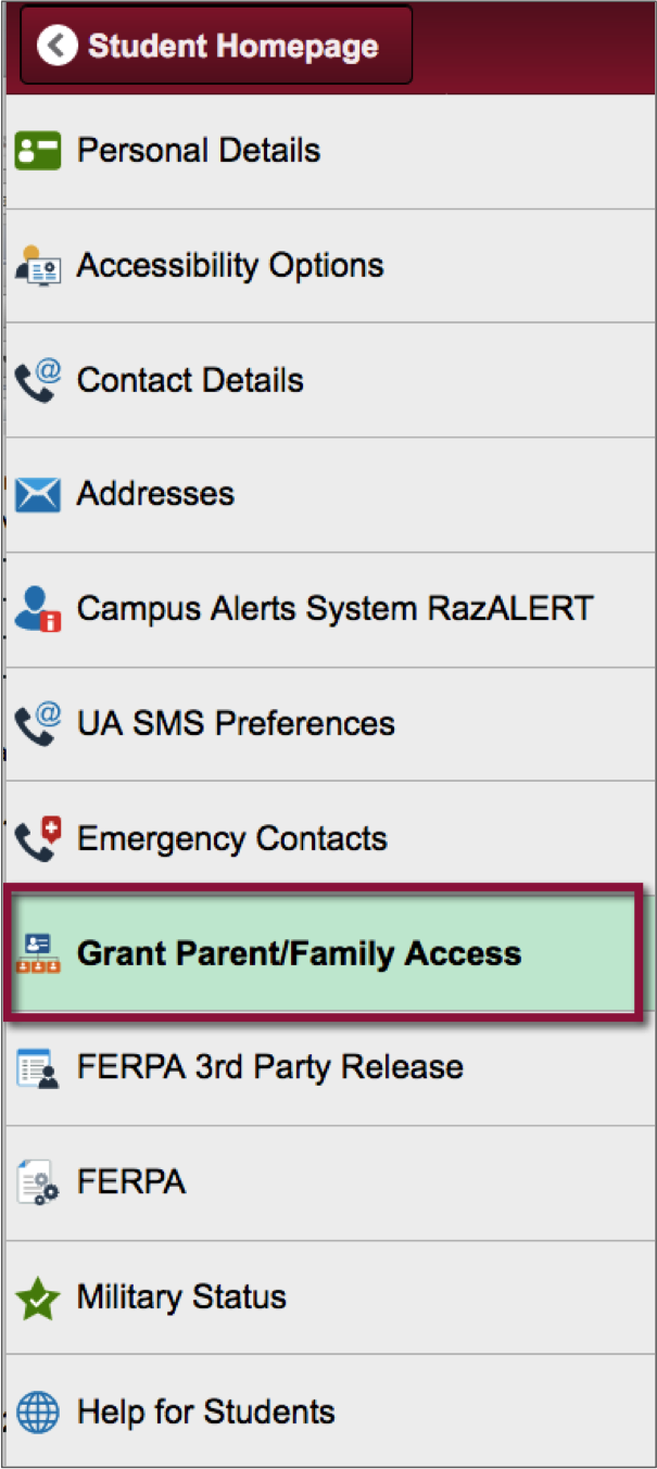 Grant Parent/Family Access link