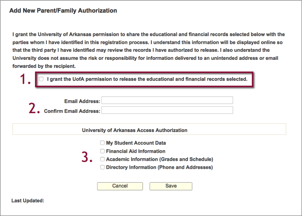 Add New Parent/Family Authorization