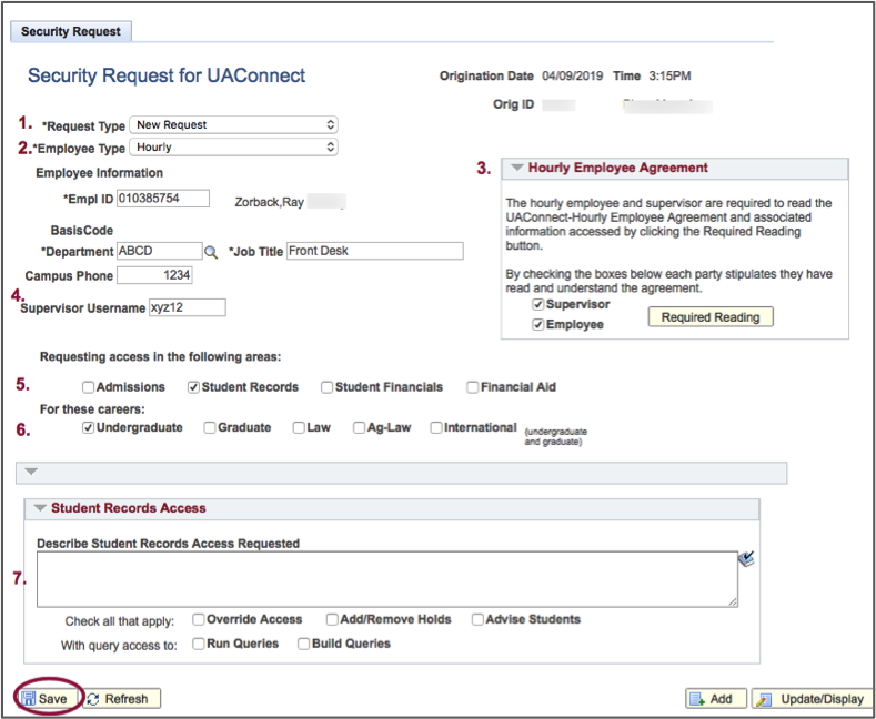 Screenshot of Security Request